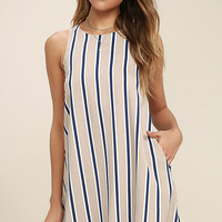 Broad Horizons Beige Striped Shift Dress