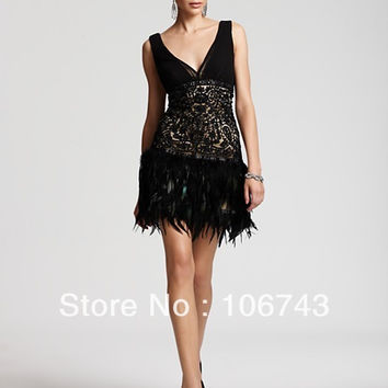 2016 Real Party Dresses free Shipping Dress with Fringes New Low Back Lace Sue Wong Beaded And Feather 1920's Style Cocktail