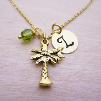 Palm Tree Necklace - Gold Initial Necklace - Birthstone Necklace - Initial Disc Necklace - Personalized Necklace - Beach Necklace