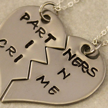 Partners in Crime Necklaces - BFF Split Heart Necklaces, Best Bitches Jewelry - Hand Stamped Best Friend Necklaces -  Stainless Steel