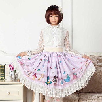 Japanese Style Adorable Printed Skirt