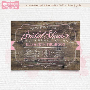 Printable bridal shower invitation, Floral bridal party invites, Elegant chalkboard and coral invitation / print your own