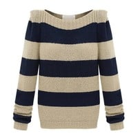 ZLYC Women Wide Navy Stripe Colorblocked Slim Fit Pullover Jumper Knitted Sweater Navy