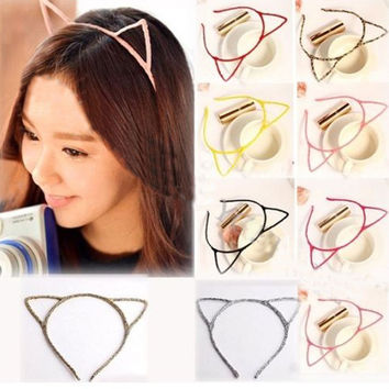 Women Lady Girls Cat Ears Headband Hair Sexy Head Band Self Photo Prop 6 Colors hair accessories free shipping