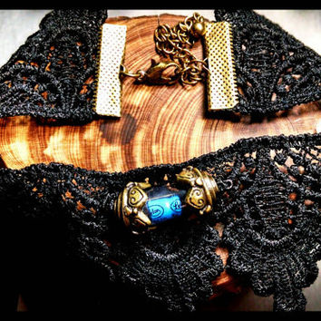 RTS Handmade Computer Capacitor Choker Bronze Bright Blue Black Lace Computer Part Necklace Handcrafted Oddities Gothic Jewelry Custom