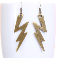 Holiday sale - Large antique brass lightning dangle earrings (628)