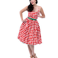 1950s Style Red & White Chelsea Tomato Print Swing Dress