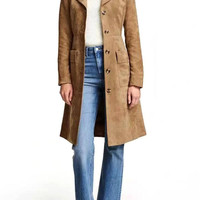 Brown Suedette Belted Trench Coat