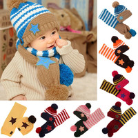 Lovely New Winter 5-Star Children Skullies & Beanies Scarf Hat Set Baby Boys Girls Knitted kids Hats & Caps Free shipping