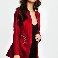 Missguided - Red Collarless Zip Detail Faux Suede Jacket