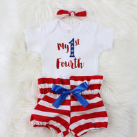 Girls 4th of July Outfit | My 1st Fourth Outfit with Red and White Stripe High Waisted Bloomers, knotted headband