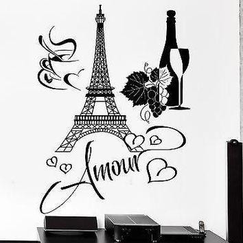Wall Decal Paris Eiffel Tower Bottle Of Wine Cup Of Coffee Love Amour Unique Gift z2848