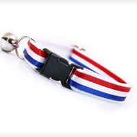 "Cat Collar - ""Old Glory"" - Red, White & Blue Stripes"