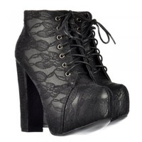 Onlineshoe Concealed Platform Block High Heel Ankle Boots - Lace Up - Black Lace - Onlineshoe from Onlineshoe UK
