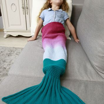 Sofa Decor Ombre Chunky Crochet Knit Mermaid Blanket Throw For Kids