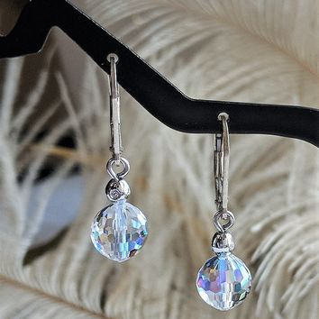 Vintage Swarovski Silver Crystal Ball Leverback Earrings