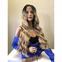 Balayage Honey Blonde Ombré Loose Wave 3x3  Multi Parting SWISS Lace Front Wig - Mya cb 005-15