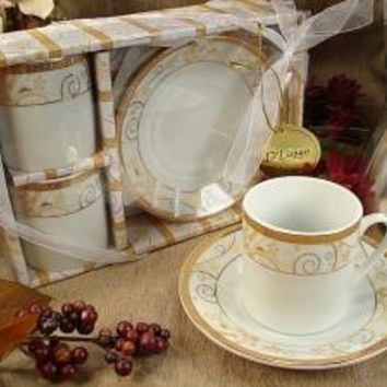 Gold Decor Design Two Cup Two Saucer Espresso Set