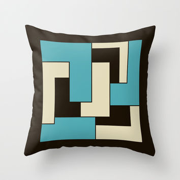 Teal Cream Chocolate Brown Geometric L Shapes Retro Throw Pillow by Natural Design