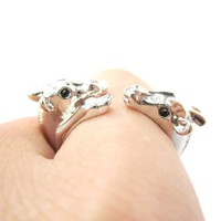 Giraffe Mother and Baby Animal Wrap Around Ring in Shiny Silver | US Sizes 5 to 9