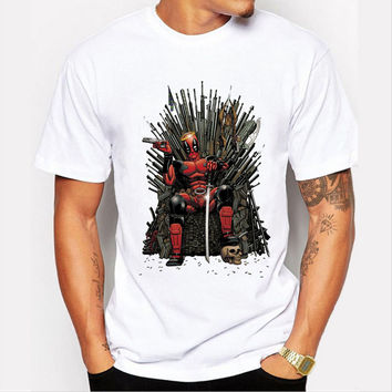 New Fashion Deadpool on the Iron Throne T-shirt Men Game of thrones Tshirt Homme Men's Short Sleeve Tee Tops Cool T Shirt