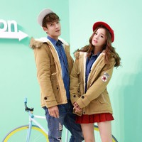 Cotton Padded Couple Jacket with Fur Collar