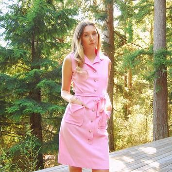 Vintage LACOSTE Dress, PINK Twiggy 60s MOD Dress, Sleeveless Button Front Chemise Laco