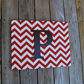 11x14 Initial Canvas Art/ Chevron Design/ Letter by AquaXpressions