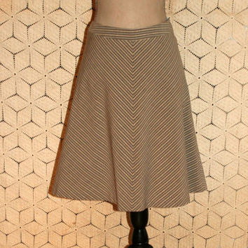 Chevron Skirt Metallic Stripe Skirt Cotton Skirt Casual Skirt Full Midi Skirt Banana Republic Size 6 Size 8 Small Medium Womens Clothing