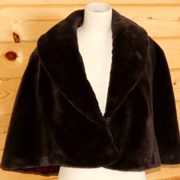Vintage Faux Sable Fur Capelet Stole Morton's Washington DC