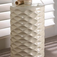 Beautiful Ivory Faceted Ceramic Stool