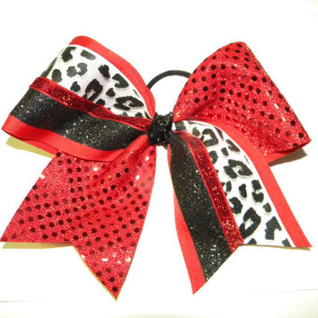 Cheer Bow Red & Black Cheetah Change the colors to by UBeUInc