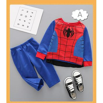 Spring Cartoon Heroes Boys Clothing Sets Batman Superman Batman Kids Long Sleeve Hoodies Pant Cloak Costume Suit