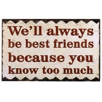 """Adeco Decorative Wood Wall Hanging Sign Plaque """"We'll Always Be Friends"""" Red, Off White Home Decor"""