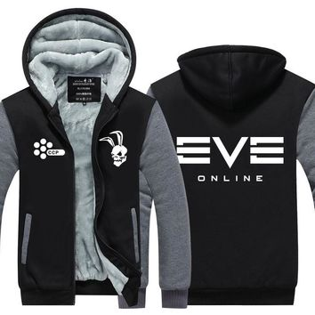 2017 EVE Online Witner Hoodie Mens Thicken Fleece Coat GUSTAS Zipper Jacket US EU Plus Szie