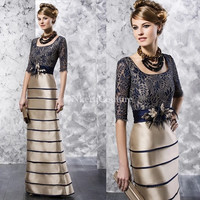 The Newest Navy blue&gold long lace mother of the bride dresses with flowers Floor-Length MBD12