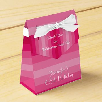 65th Birthday Favor Box, Pink Stripes Favor Box