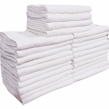"Economy White 16""x27"" Pure Cotton Hand Towels 2.9lb/dz Salon-Gym-Home use Towels"