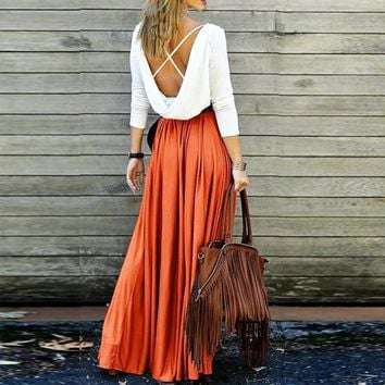 2019 Boho Women High Waist Pleated Skirts Elegant Solid Khaki Gray Vintage Floor-length Maxi Skirts Beach Boho A-line Long Skirt
