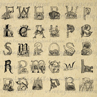 Animal Letters Digital Printable Download Alphabet Collage Sheet Image Graphic Antique Clip Art for Transfers etc HQ 300dpi No.994