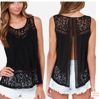 Plus Size Lace Vest Women's Fashion Bottoming Shirt [4966040516]
