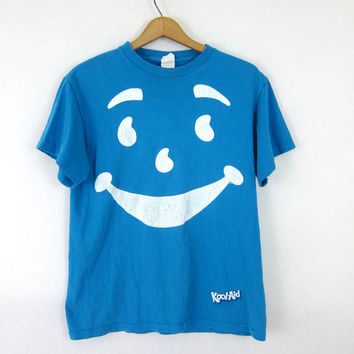 Kool Aid TShirt Tee Shirt 80s T Shirt Blue Graphic Oversize Top Grunge Cotton Hipster Retro Tee Vintage Print Size Medium