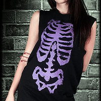 Ribcage Oversize Tee  Horror Punk Rock Gothic Alternative Womens Corset Tops Rockin' Bones