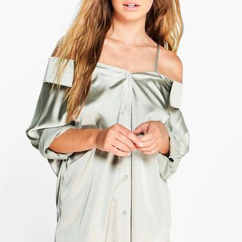 Phoebe Silky Shoulder Strappy Blouse   Boohoo