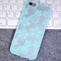 Fashion Mint Green Lace Mobile Phone Case For Iphone  6 6s 6plus 6s plus + Nice gift box!