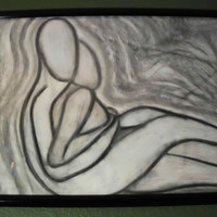 "Original Charcoal Drawing, Embrace, 18 x 24"", Black Frame"