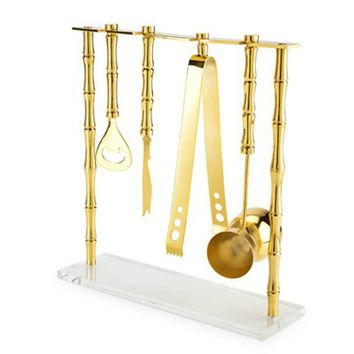Gold Plated Stainless Steel Bamboo Bar Set