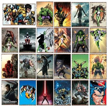 The Avengers Captain America She Hulk Wolverine Batman Superhero Poster Wall Plaque Pub Bar Home Decor Vintage Metal Signs YN175