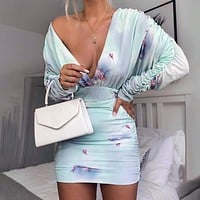 Autumn And Winter New Fashion V-Neck Women Solid Color Long Sleeve Dress