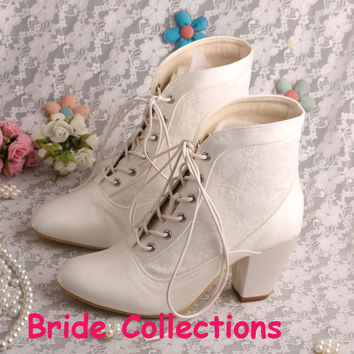 New Arrival Lace-up Half Boots for Wedding Shoes Bridal Chunky Heel 7.5CM Free Shipping